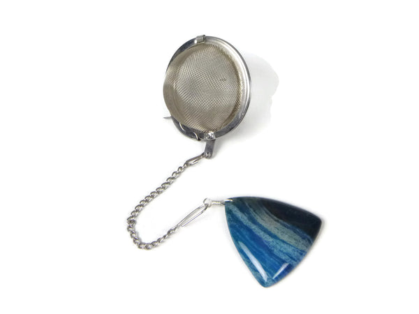 Tea Infuser with Blue and Black Triangle Charm