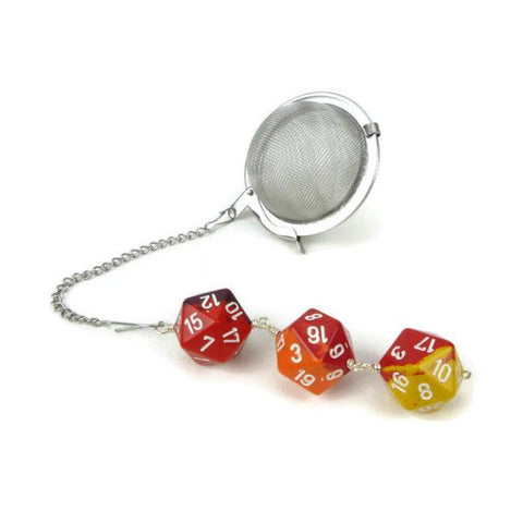 Tea Infuser with Red Orange and Yellow Dice