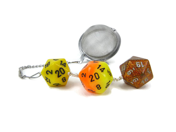 Tea Infuser with Yellow and Orange Dice Trio