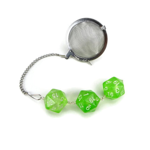 Tea Infuser with Lime Green Dice Trio