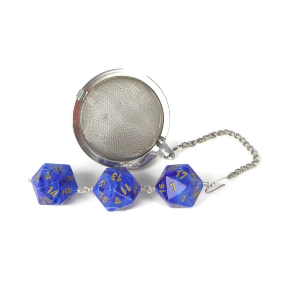 Tea Infuser with Swirled Blue Dice Trio