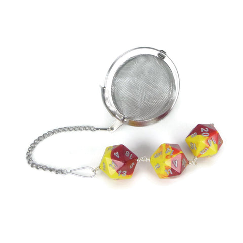 Tea Infuser with Yellow and Red Dice Trio