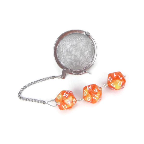 Tea Infuser with orange and yellow dice trio