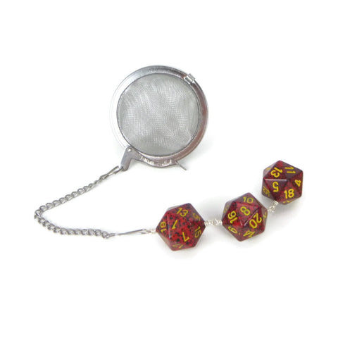 Tea Infuser with Red Speckled Dice Trio