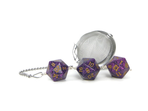 Tea Infuser with purple speckled dice trio