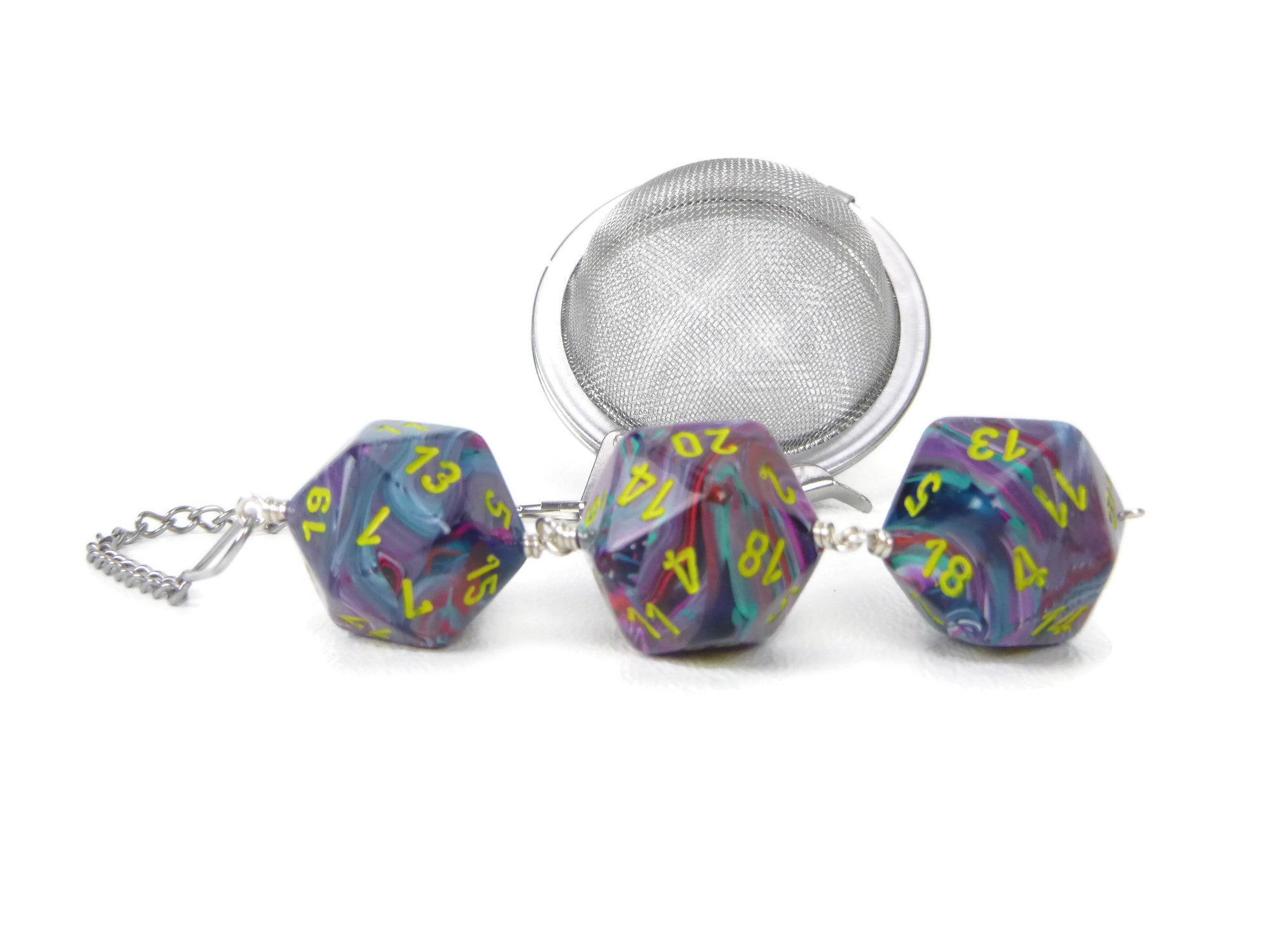 Tea Infuser with Tie-dye dice trio