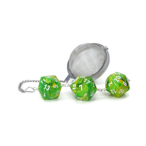 Tea Infuser with swirly lime green dice trio