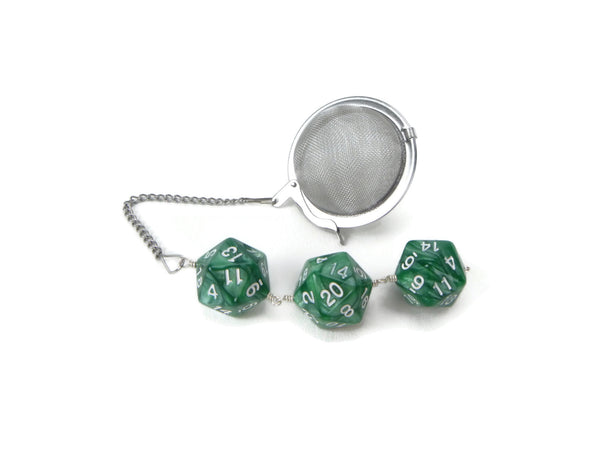 Tea Infuser with pearlescent green dice trio