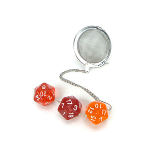 Tea Infuser with Transparent and Opaque Red Dice Trio