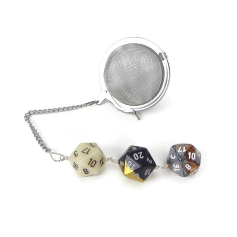 Tea Infuser with Ivory, Black/Gold, and Copper/Silver Dice Trio