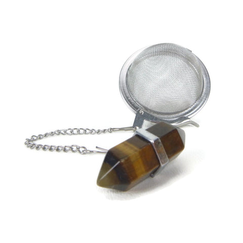 Tea Infuser with Tiger Eye Double Point Charm