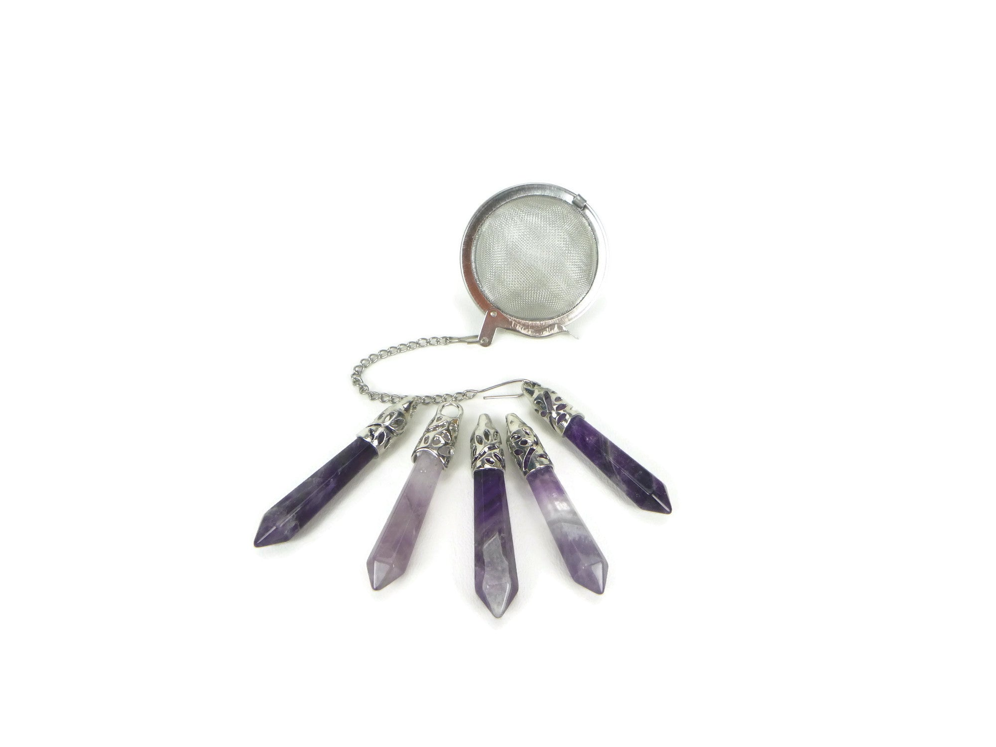 Tea Infuser with Amethyst Point Charm