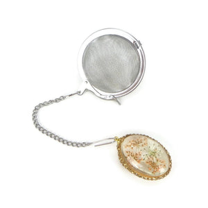 Tea Infuser with pressed golden flower charm