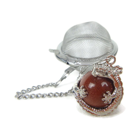 Tea Infuser with Dragon Wrapped Goldstone Charm