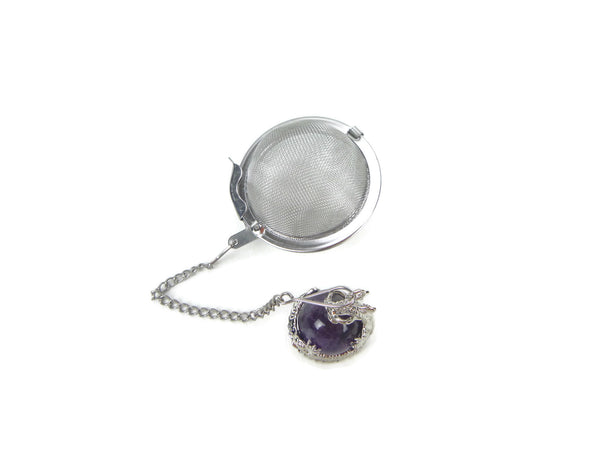 Tea Infuser with Dragon Wrapped Amethyst Charm