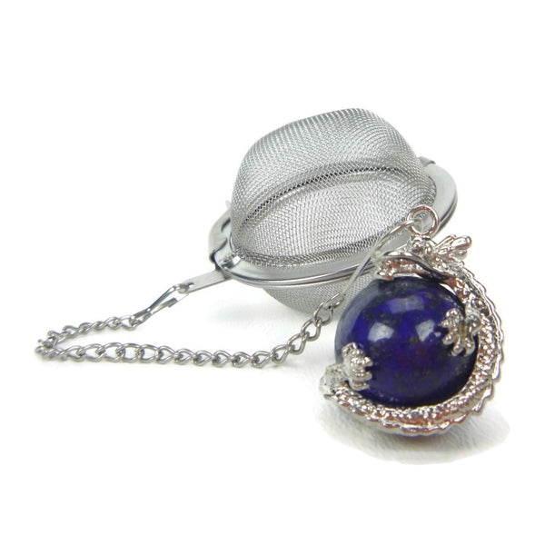 Tea Infuser with Dragon Wrapped Lapis Lazuli Charm