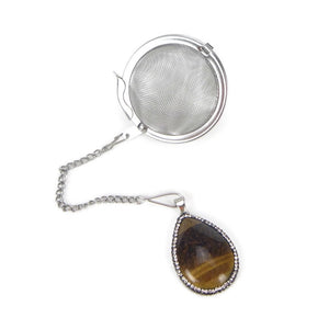 Tea Infuser with Crystal Encircled Tigers Eye Charm
