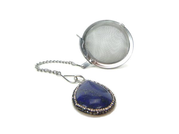 Tea Infuser with crystal encircled lapis lazuli charm