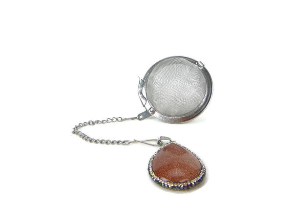 Tea Infuser with Crystal Encircled Goldstone Charm