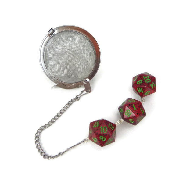 Tea Infuser with red and black speckled dice trio