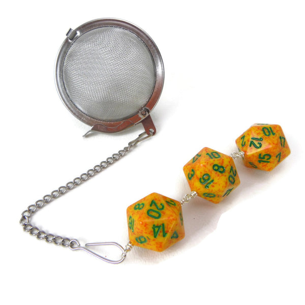Tea Infuser with Speckled Yellow-Orange Dice Trio