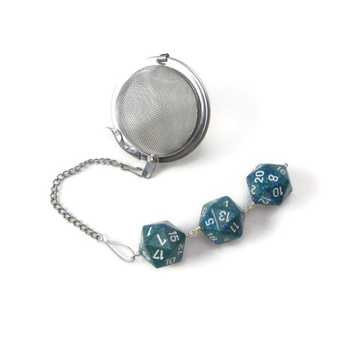 Tea Infuser with Speckled Blue-Green Dice Trio