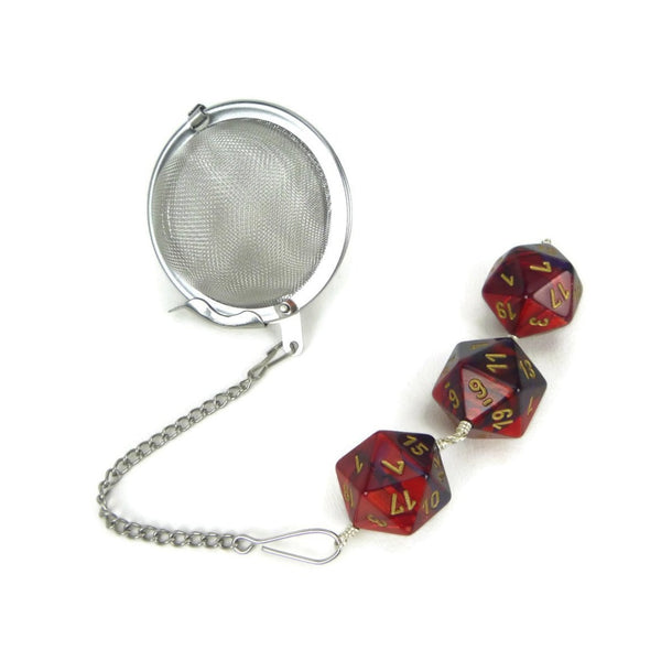 Tea Infuser with red and purple dice trio