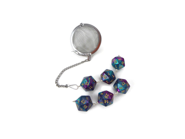 Tea Infuser with Teal and Purple Dice Trio