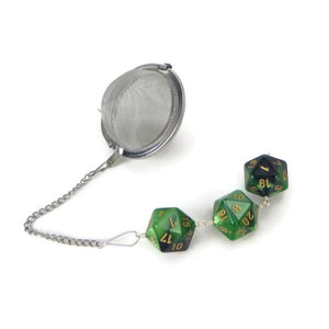 Tea Infuser with green and black dice trio