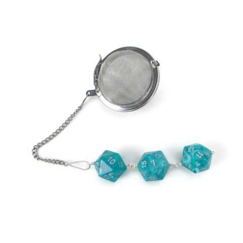 Tea Infuser with Swirled Teal Dice Trio