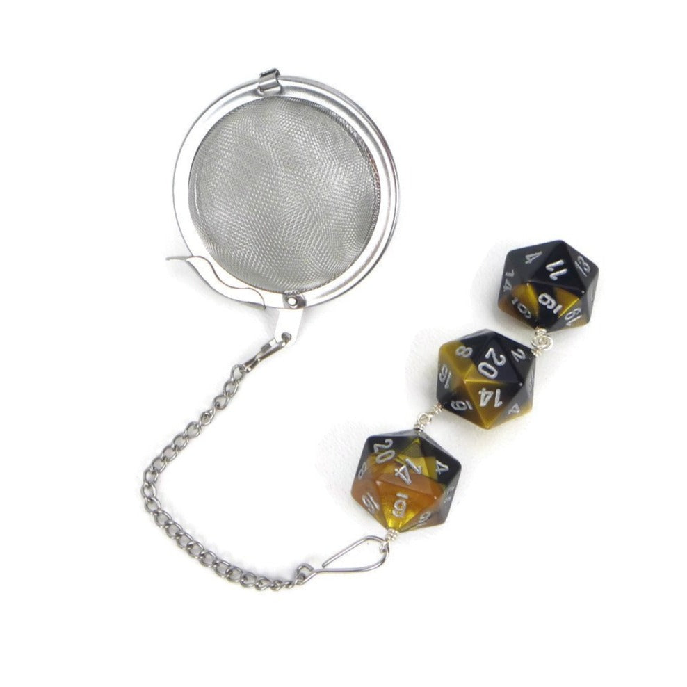 Tea Infuser with gold and black dice trio