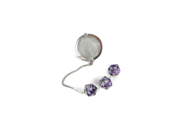 Tea Infuser with purple and silver dice trio
