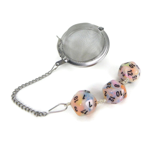 Tea Infuser with Pastel Swirled Dice Trio