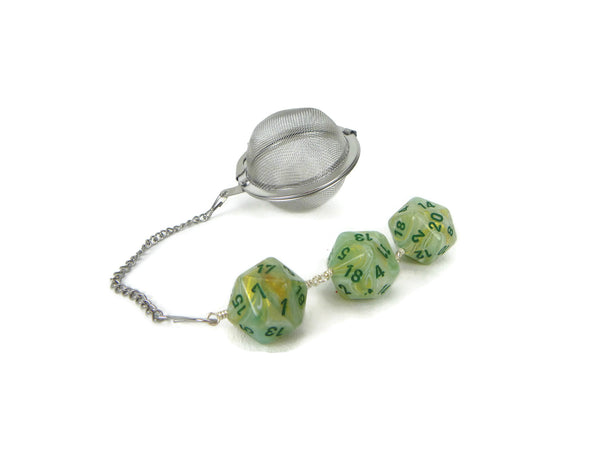 Tea Infuser with Marbled Green and Gold Swirl Dice Trio