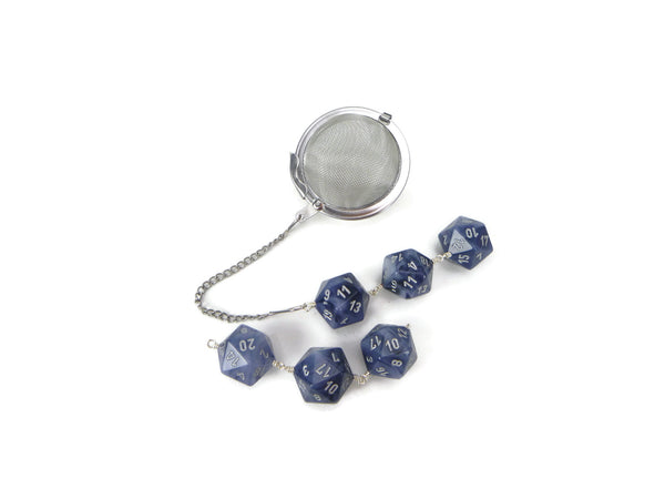 Tea Infuser with Cloudy Blue Dice Trio
