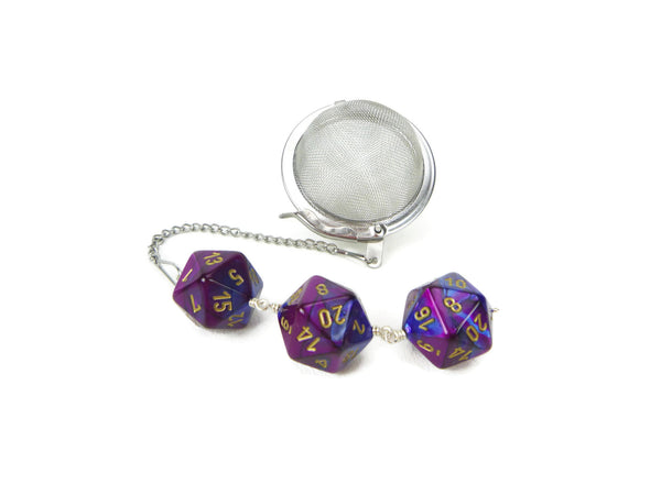 Tea Infuser with Blue and Purple Dice Trio