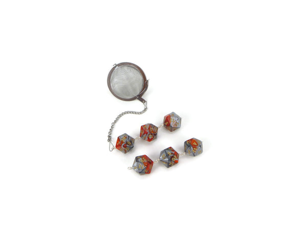 Tea Infuser with Orange and Silver Dice Trio