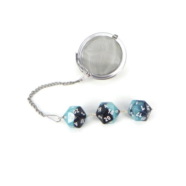 Tea Infuser with Pastel Blue and Black Dice Trio