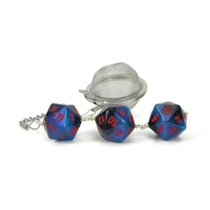 Tea Infuser with starlight blue and black dice trio
