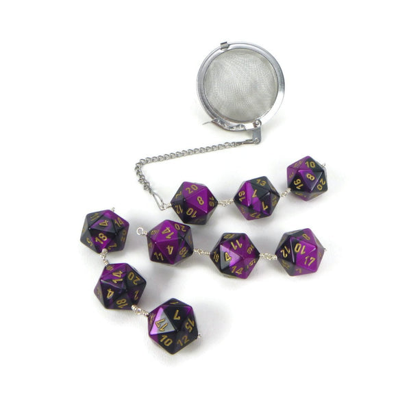 Tea Infuser with Purple and Black Dice Trio