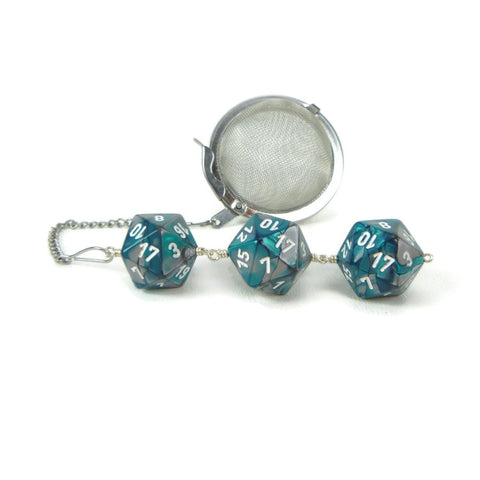 Tea Infuser with Teal and Silver Dice Trio
