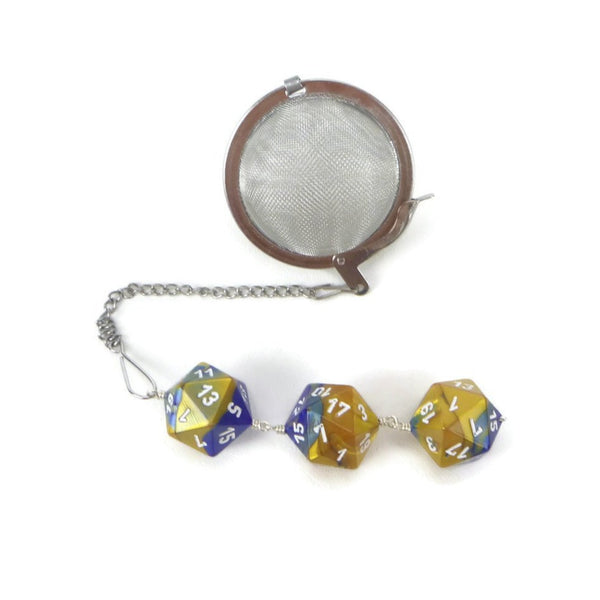 Tea Infuser with Blue and Gold Dice Trio