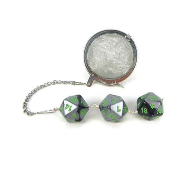 Tea Infuser with Black and Silver Dice Trio