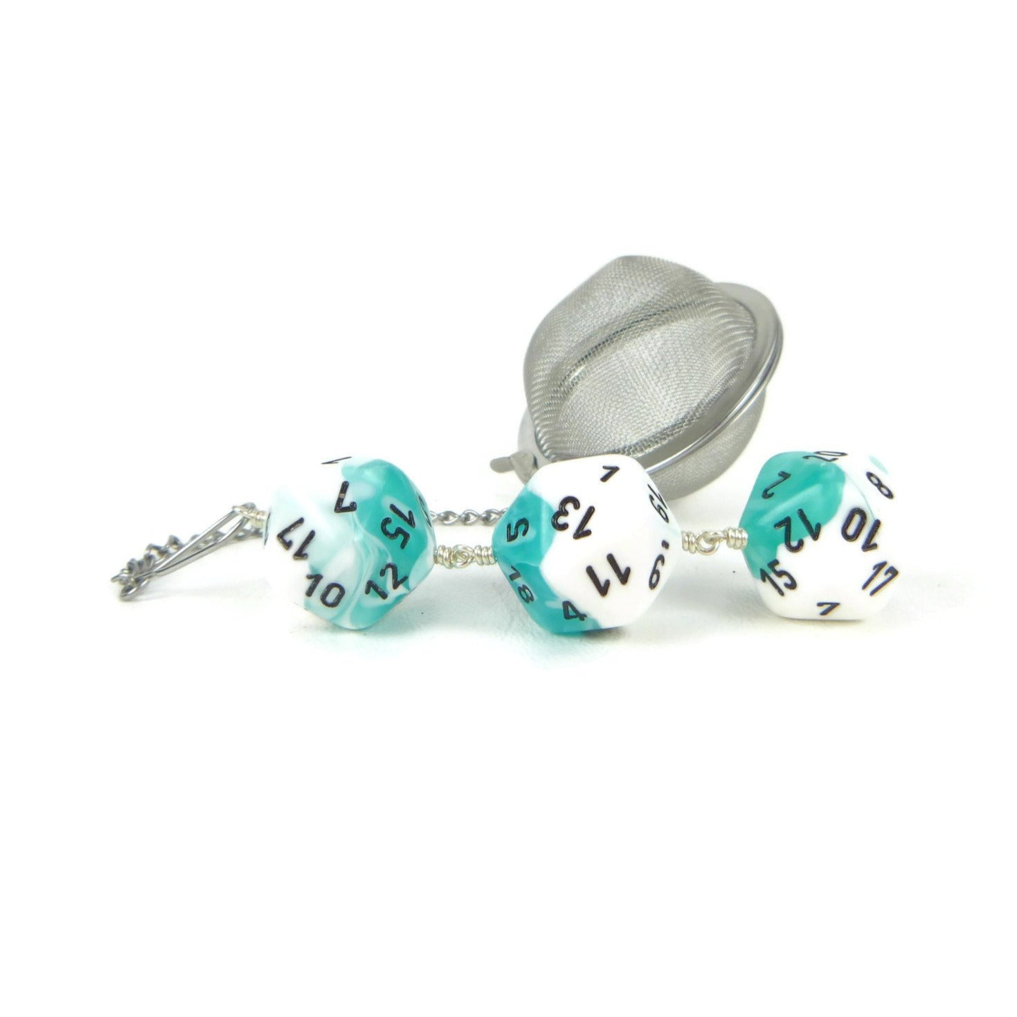 Tea Infuser with teal and white dice trio