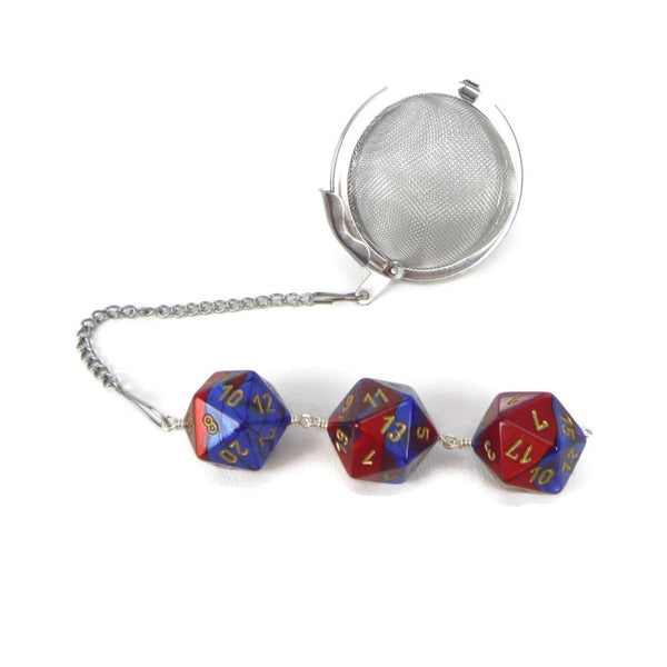 Tea Infuser with Red and Blue Dice Trio