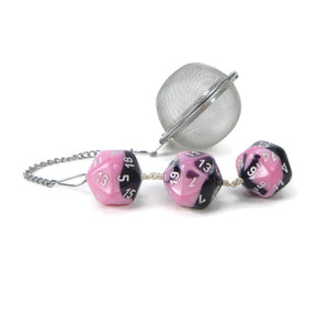 Tea Infuser with Pastel Pink and Black Dice Trio