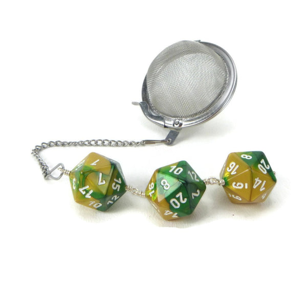 Tea Infuser with Green and Gold Dice Trio