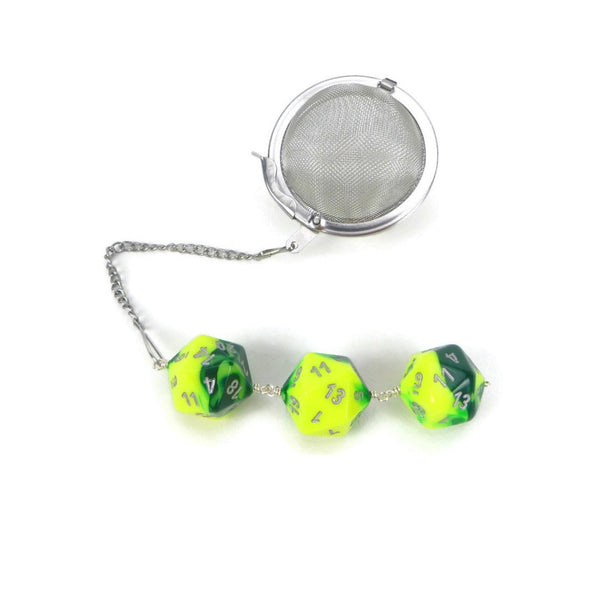 Tea Infuser with Green and Yellow Dice Trio
