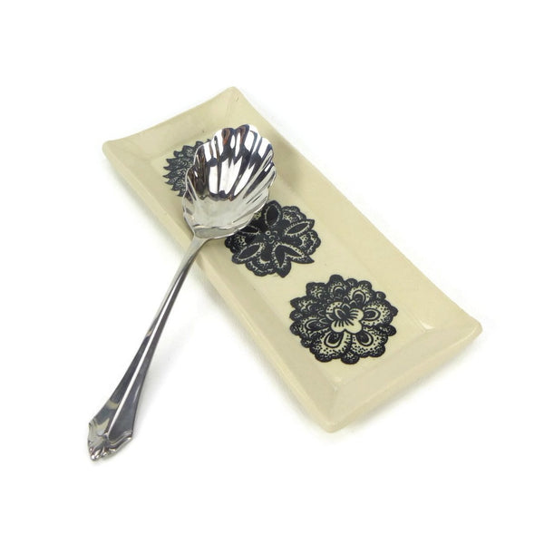 Black and White Floral Rectangular Plate