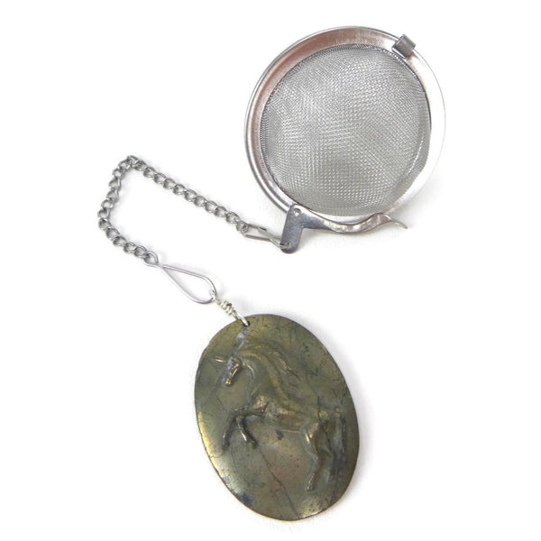 Tea Infuser with Pyrite Unicorn Charm